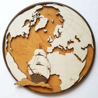 Mappemonde bois Atlantique et galion