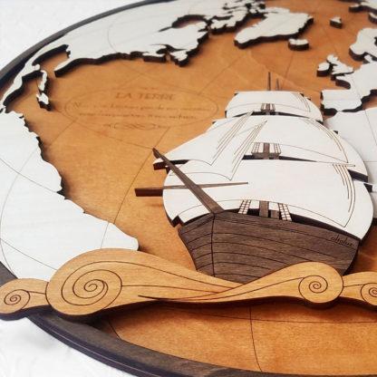 Gravure voilier galion - détail