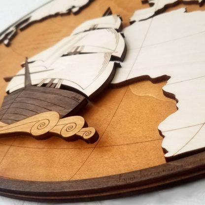 Cartographie Atlantique et galion - détail