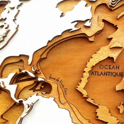 carte du relief, fosse de portorico et dorsale atlantique