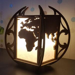 Lampe monde - art et cartographie