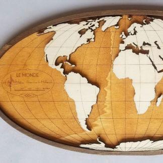 carte du monde en bois amérique