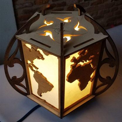 lampe-monde bois et papier washi