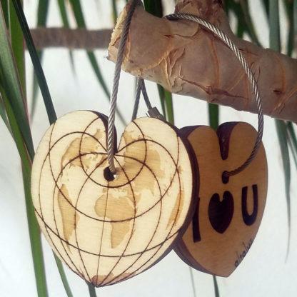 porte-clé pour amoureux en bois