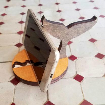 support en bois pour smartphone Baleine