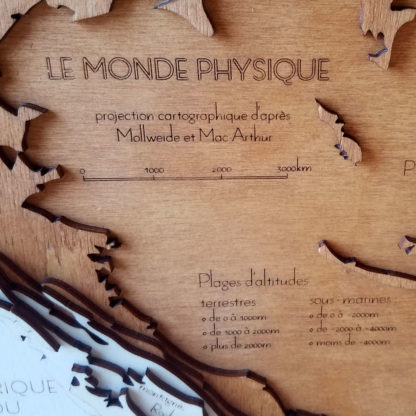 carte du relief en bois légende