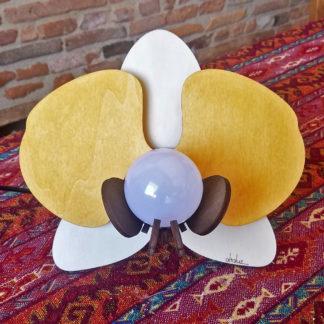 lampe en bois fleur orchidée