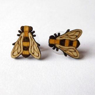 boucle d oreille abeille en bois
