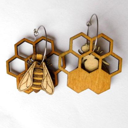boucle oreille abeille fait-main