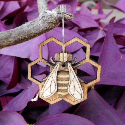 boucle oreille abeille et rayon de miel