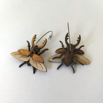 boucle d oreille lucane cerf volant en bois
