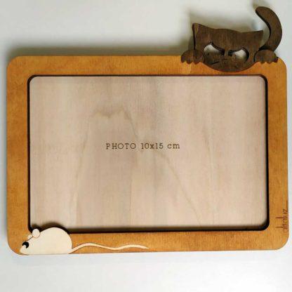 cadre photo en bois chat souris