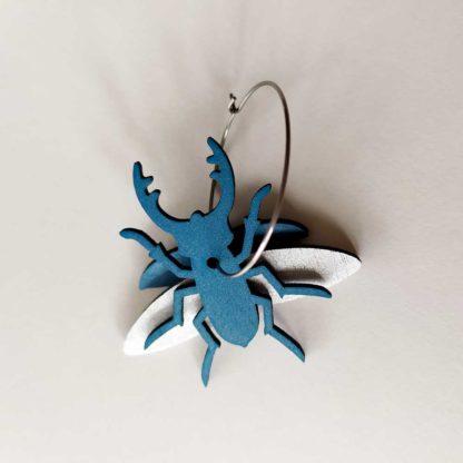 boules oreilles scarabée bleu