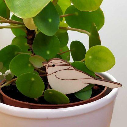 Décoration oiseau en bois pour plantes vertes