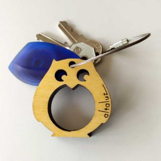 porte clé en bois chouette