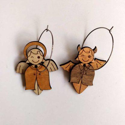 boucles d'oreilles ange et démon