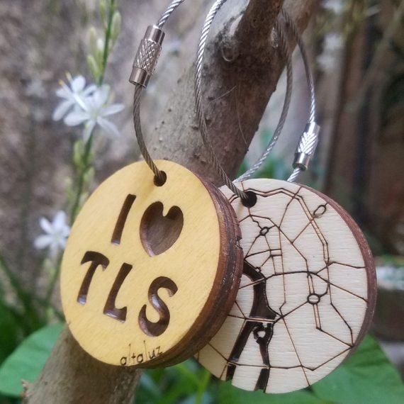 porte-clé en bois I love Toulouse